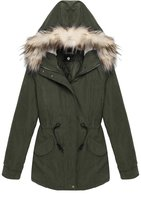 ACEVOG Women's Winter Warm Thickened Coat with Faux Fur-Trimmed Hood