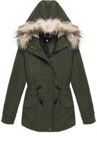 ACEVOG Women's Wool Coat Fur Trim Hooded Parka Coat Jacket Outwear
