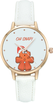 Geneva Platinum White & Gold 'Oh Snap!' Faux Leather-Strap Watch