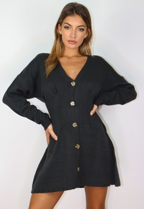 Missguided Charcoal Cinched Waist Knitted Cardigan Dress