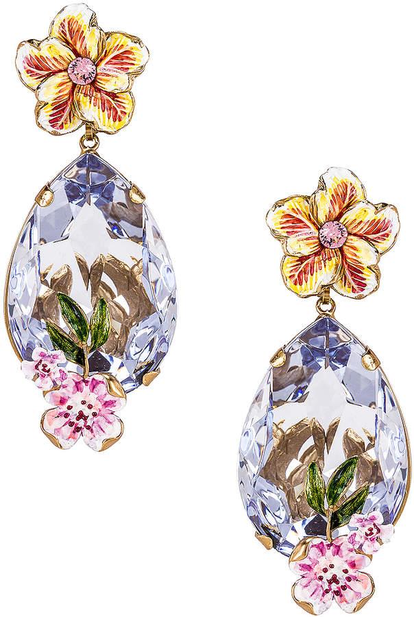 Dolce & Gabbana Flower & Crystal Earrings in Purple | FWRD