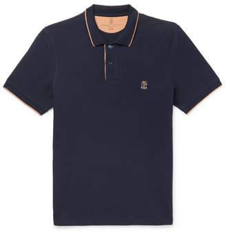 Brunello Cucinelli Slim-Fit Contrast-Tipped Cotton-Pique Polo Shirt