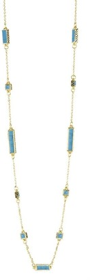 HOUSE OF HARLOW Aqua Long Rains Station Goldtone Wrap Necklace 42