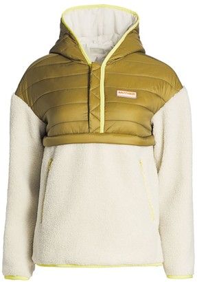 Mother Faux Shearling Puffer Zip Pullover