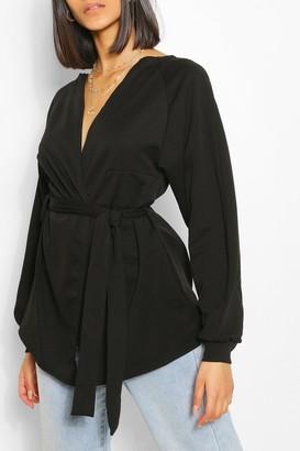 boohoo Crepe Cuffed Bell Sleeve Mini Tie Kimono
