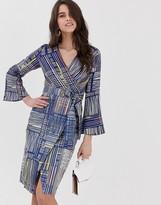 Closet London Closet flute sleeve wrap dress