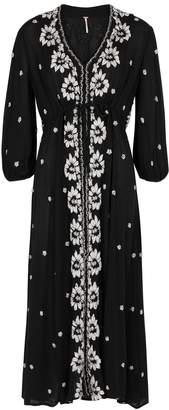 Free People Embroidered Black Gauze Midi Dress