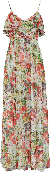 Gina Bacconi Narelle Floral Delight Chiffon Maxi Dress - 12 - Pink/Orange/Yellow
