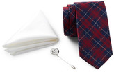Ben Sherman Silk Plaid Tie, Solid Pocket Square, & Lapel Pin Box Set