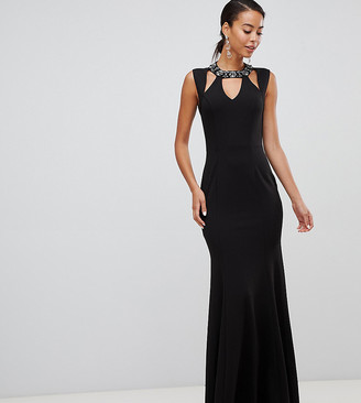 Little Mistress Tall embellished cut out maxi dress-Black