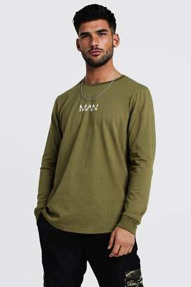 boohoo Original MAN Long Sleeve Curved Hem T-Shirt