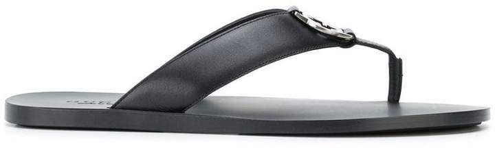 Gucci logo plaque thong sandals