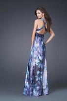 La Femme Stunning Bejeweled V-Neck A-Line Dress 15964