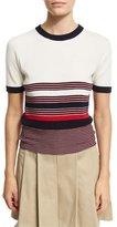 Rag & Bone Krista Striped Short-Sleeve Sweater, Off White