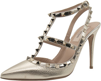 Valentino Metallic Gold Leather Rockstud Embellished Ankle Strap Sandals Size 38