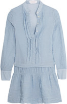 See by Chloe Striped crinkled cotton-blend mini dress