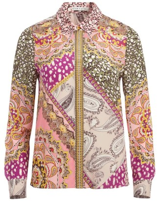 Alice + Olivia Willa Mixed Print Silk Blouse