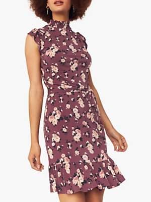 Oasis Erin Rose Floral Dress, Multi Red