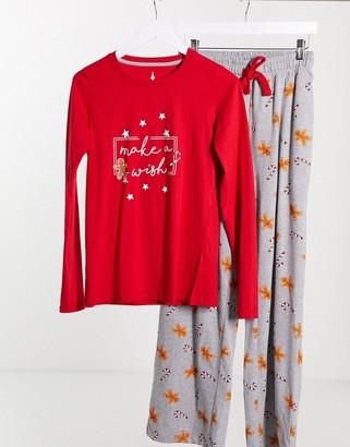 Threadbare Christmas Make A Wish pyjama set in red and grey