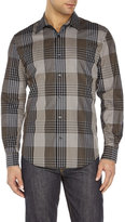 Perry Ellis Black Variegated Plaid Sport Shirt