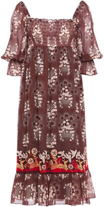 Anna Sui Shirred Printed Silk-chiffon Midi Dress