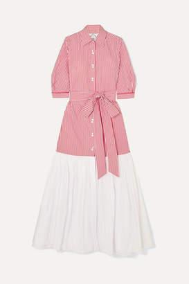 Evi Grintela Carmen Paneled Striped Cotton-poplin Dress - Red