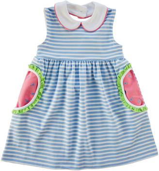 Florence Eiseman Girl's Striped Watermelon Pocket Dress, Size 2-4T