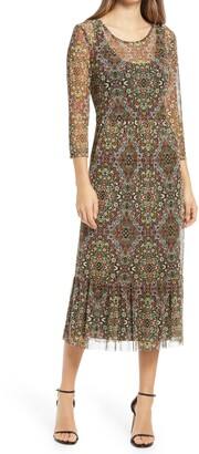 Connected Apparel Moorish Print Mesh Long Sleeve Midi Dress