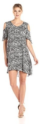 Notations Women's PRT Ss Cold Shoulder Swing Dress