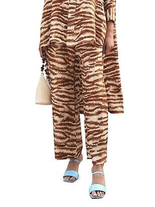 Cult Gaia Stacie Zebra Printed Cropped Pants