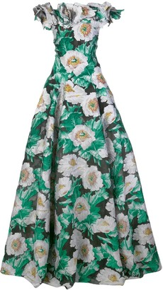 Oscar de la Renta Floral-Jacquard Off-The-Shoulder Gown