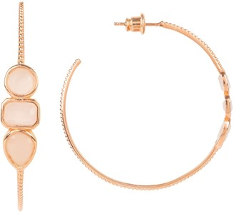 Latelita Venice Gemstone Hoop Earring Rose Gold Rose Quartz