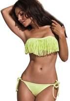 Bestgift Womens Tassels Bikini Swimsuits L
