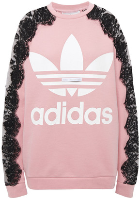 adidas by Stella McCartney Lace-paneled Printed French Cotton-terry Sweatshirt
