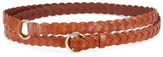 Frame Braided O-Buckle Double Wrap Leather Belt