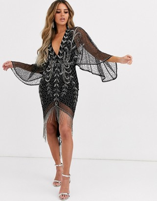 Asos Design DESIGN kimono midi dress with delicate beaded embellishment-Black