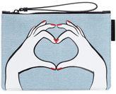 Lulu Guinness Women's Heart Hands Denim Grace Pouch Denim