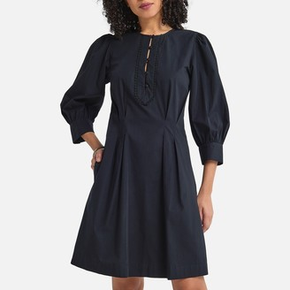 La Redoute Collections Cotton Mini Prairie Dress with 3/4 Length Puff Sleeves