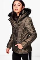 boohoo Ella Padded Jacket With Detachable Faux Fur Collar khaki