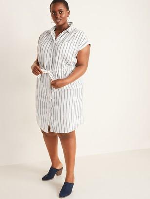 Old Navy Linen-Blend Cinch-Tie No-Peek Plus-Size Shirt Dress
