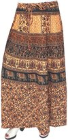 Maple Clothing Printed Cotton Womens Long Skirt Indian Clothing (Blue)