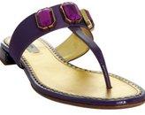 purple jeweled nylon and patent thongs