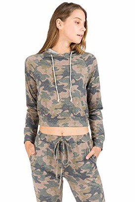 Tresics Junior's Camo Long Sleeve Hoodie Top with Drawstring