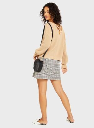Miss Selfridge Tan Ring Back Detail Knitted Jumper