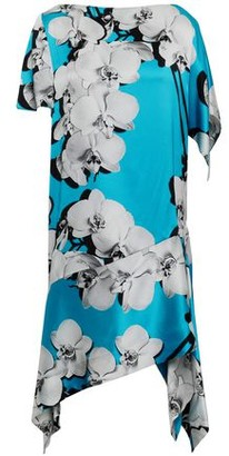Roberto Cavalli Asymmetric Floral-print Silk-satin Dress
