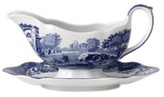 "Spode Blue Italian"" Gravy Boat with Stand"