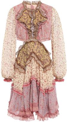 Zimmermann Juniper Open-back Patchwork Floral-print Cotton And Silk-blend Mini Dress