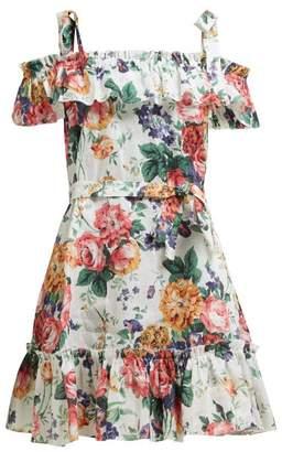 Zimmermann Allia Floral Print Tie Strap Linen Dress - Womens - White