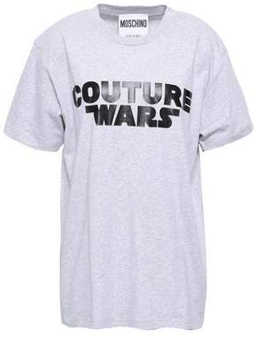 Moschino Printed Melange Cotton-jersey T-shirt