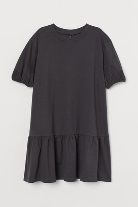 H&M Puff-sleeved Jersey Dress - Gray